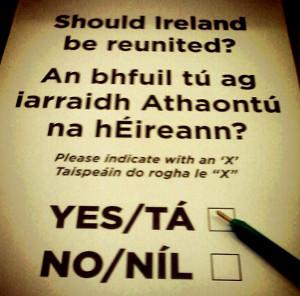 Wahlschein des Referendums über die Vereinigung Irland